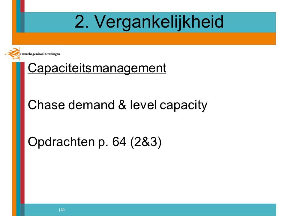 | 30 2. Vergankelijkheid Capaciteitsmanagement Chase demand & level capacity Opdrachten p. 64 (2&3)