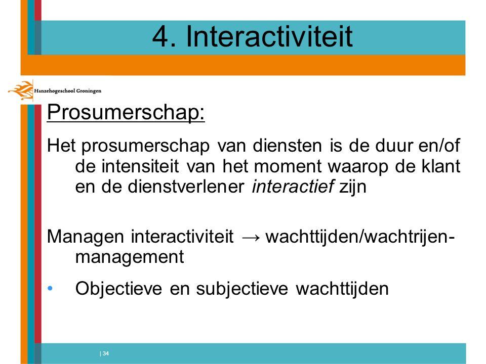 | 34 4. Interactiviteit Prosumerschap: Het prosumerschap van diensten is de duur en/of de intensiteit van het moment waarop de klant en de dienstverle