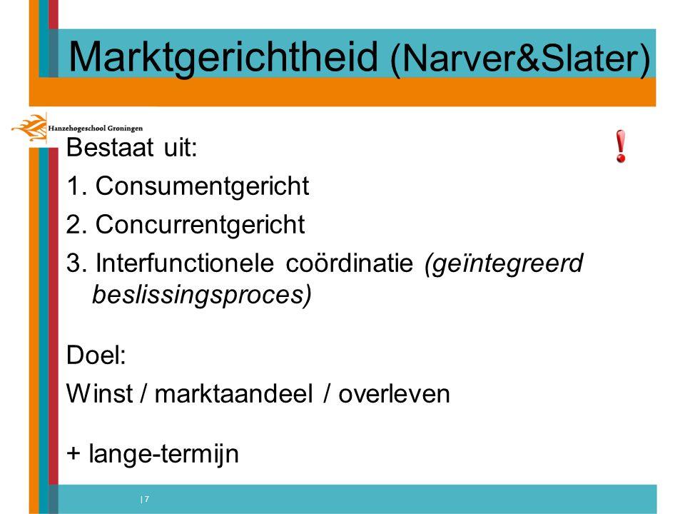 | 7 Marktgerichtheid (Narver&Slater) Bestaat uit: 1.