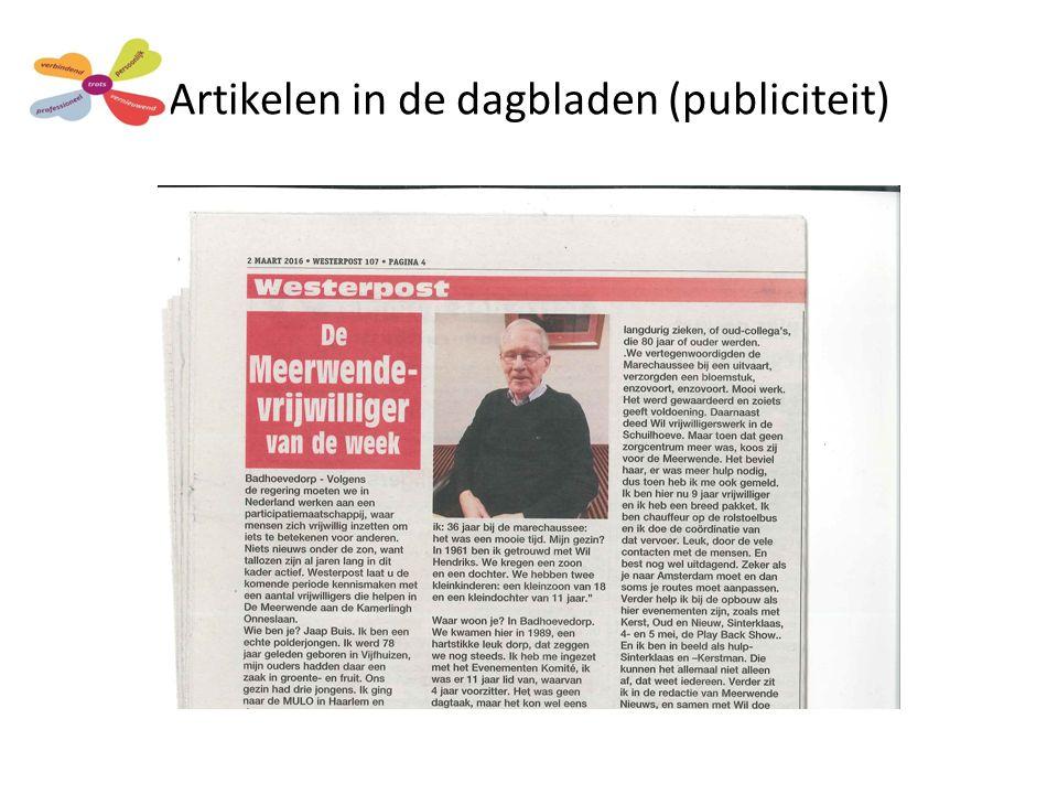 Artikelen in de dagbladen (publiciteit)