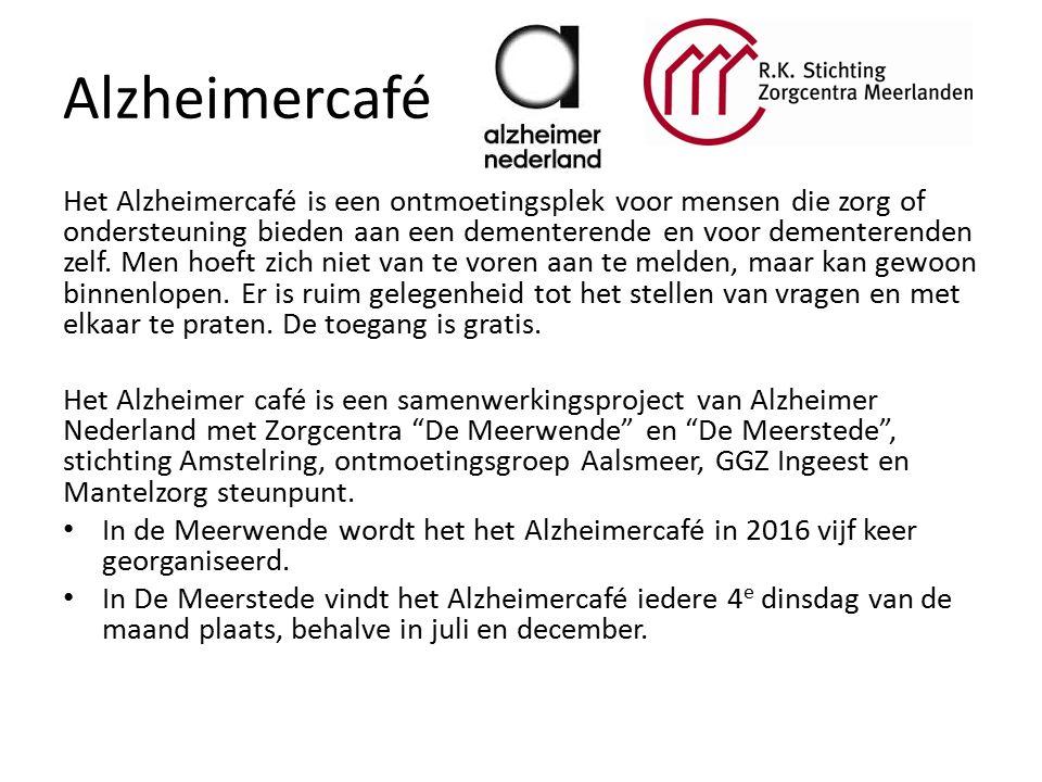 Alzheimercafé Het Alzheimercafé is een ontmoetingsplek voor mensen die zorg of ondersteuning bieden aan een dementerende en voor dementerenden zelf.