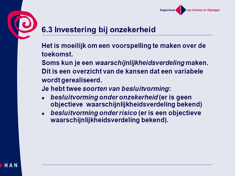 6.3 Investering bij onzekerheid Het is moeilijk om een voorspelling te maken over de toekomst.