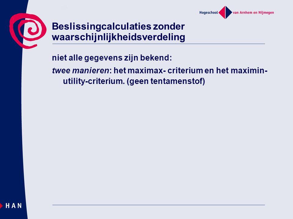 Beslissingcalculaties zonder waarschijnlijkheidsverdeling niet alle gegevens zijn bekend: twee manieren: het maximax- criterium en het maximin- utility-criterium.