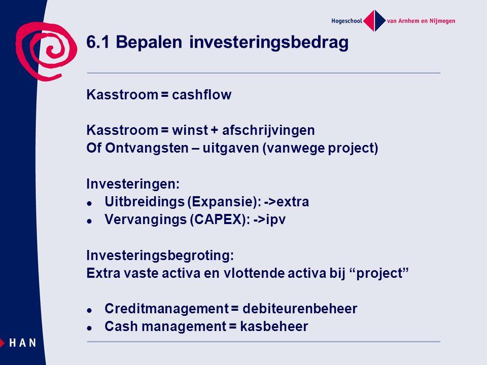 6.1 Bepalen investeringsbedrag Kasstroom = cashflow Kasstroom = winst + afschrijvingen Of Ontvangsten – uitgaven (vanwege project) Investeringen: Uitbreidings (Expansie): ->extra Vervangings (CAPEX): ->ipv Investeringsbegroting: Extra vaste activa en vlottende activa bij project Creditmanagement = debiteurenbeheer Cash management = kasbeheer