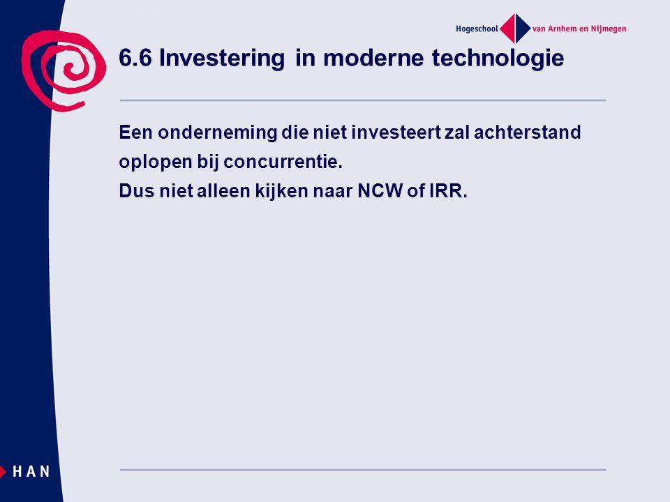 6.6 Investering in moderne technologie Een onderneming die niet investeert zal achterstand oplopen bij concurrentie.