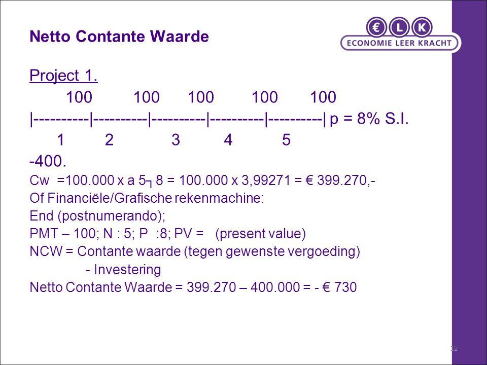 12 Netto Contante Waarde Project 1.