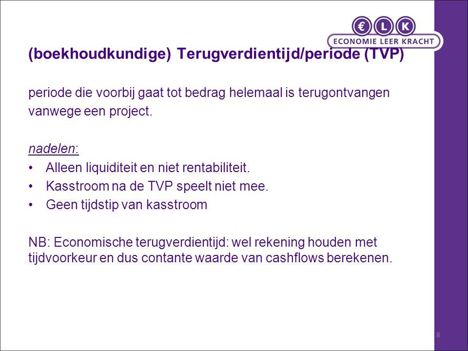 8 (boekhoudkundige) Terugverdientijd/periode (TVP) periode die voorbij gaat tot bedrag helemaal is terugontvangen vanwege een project.