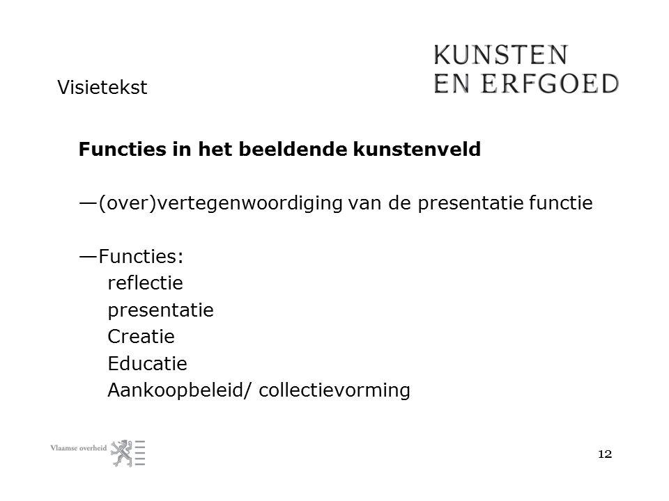 Visietekst Functies in het beeldende kunstenveld — (over)vertegenwoordiging van de presentatie functie — Functies: reflectie presentatie Creatie Educa