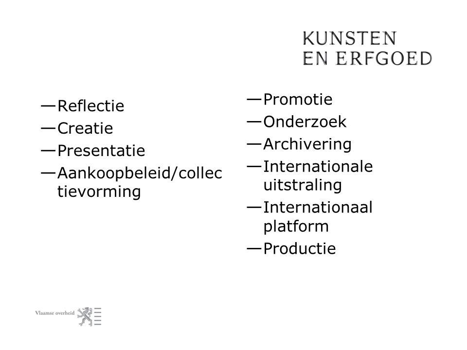 — Reflectie — Creatie — Presentatie — Aankoopbeleid/collec tievorming — Promotie — Onderzoek — Archivering — Internationale uitstraling — Internationa