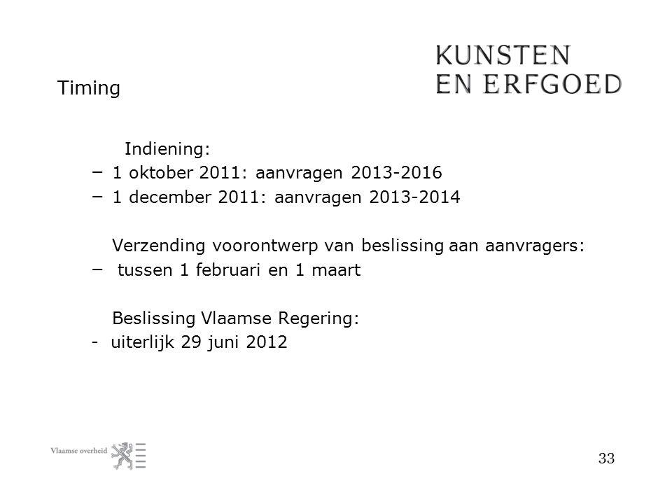 Timing Indiening: – 1 oktober 2011: aanvragen 2013-2016 – 1 december 2011: aanvragen 2013-2014 Verzending voorontwerp van beslissing aan aanvragers: –