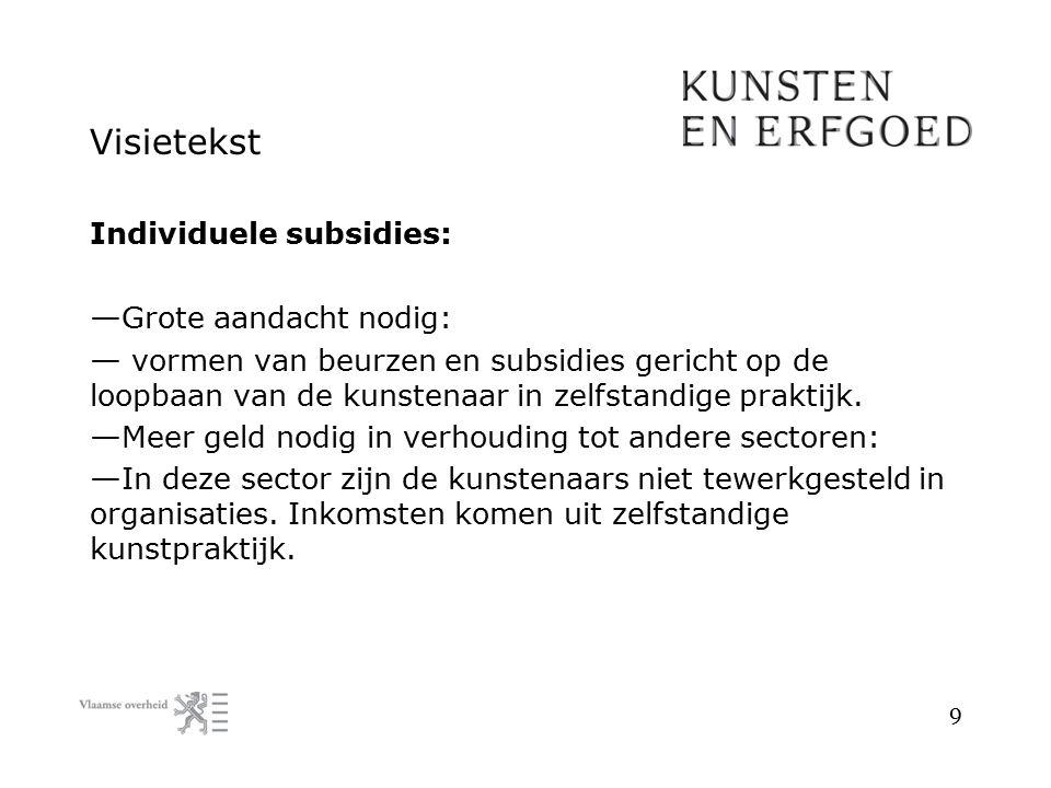Visietekst Individuele subsidies: — Grote aandacht nodig: — vormen van beurzen en subsidies gericht op de loopbaan van de kunstenaar in zelfstandige p
