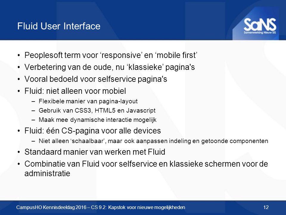 Fluid User Interface Peoplesoft term voor 'responsive' en 'mobile first' Verbetering van de oude, nu 'klassieke' pagina s Vooral bedoeld voor selfservice pagina s Fluid: niet alleen voor mobiel –Flexibele manier van pagina-layout –Gebruik van CSS3, HTML5 en Javascript –Maak mee dynamische interactie mogelijk Fluid: één CS-pagina voor alle devices –Niet alleen 'schaalbaar', maar ook aanpassen indeling en getoonde componenten Standaard manier van werken met Fluid Combinatie van Fluid voor selfservice en klassieke schermen voor de administratie CampusHO Kennisdeeldag 2016 – CS 9.2: Kapstok voor nieuwe mogelijkheden12