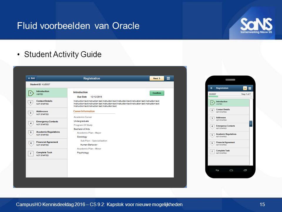 Fluid voorbeelden van Oracle Student Activity Guide CampusHO Kennisdeeldag 2016 – CS 9.2: Kapstok voor nieuwe mogelijkheden15