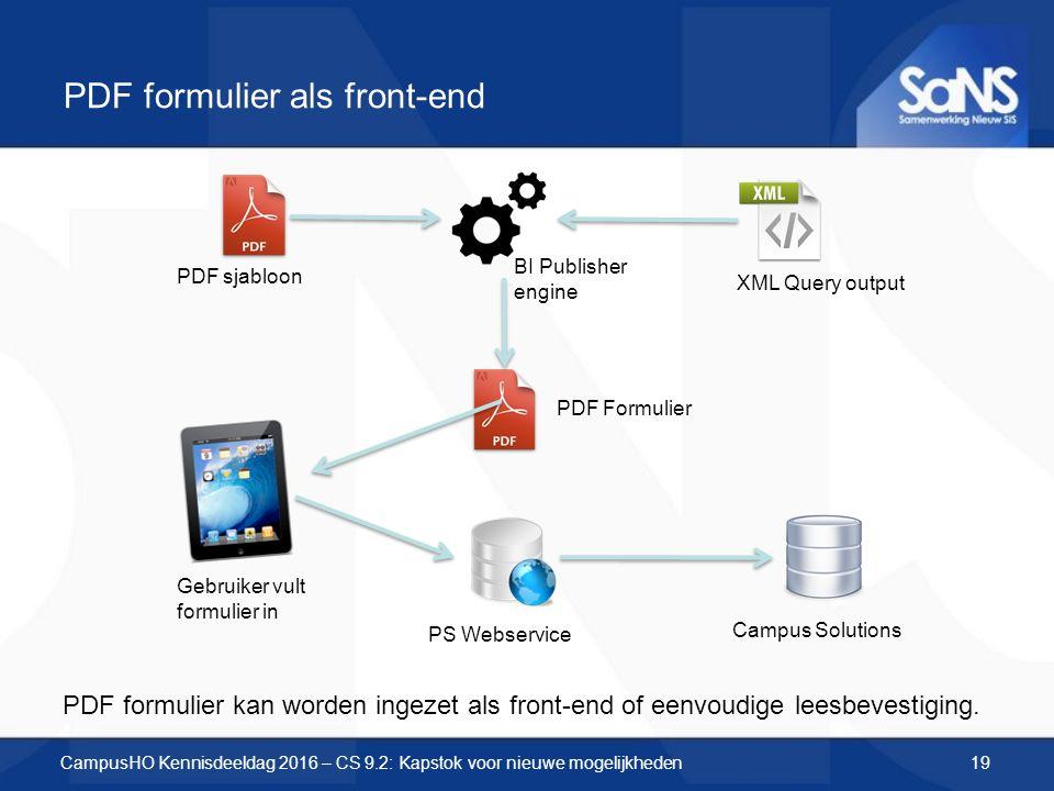 PDF formulier als front-end PDF sjabloon XML Query output BI Publisher engine PDF Formulier Gebruiker vult formulier in PS Webservice Campus Solutions PDF formulier kan worden ingezet als front-end of eenvoudige leesbevestiging.