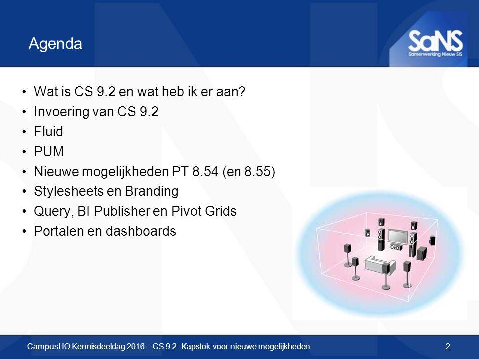 Agenda Wat is CS 9.2 en wat heb ik er aan? Invoering van CS 9.2 Fluid PUM Nieuwe mogelijkheden PT 8.54 (en 8.55) Stylesheets en Branding Query, BI Pub