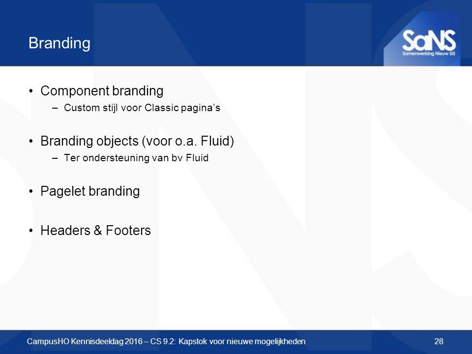 Branding Component branding –Custom stijl voor Classic pagina's Branding objects (voor o.a. Fluid) –Ter ondersteuning van bv Fluid Pagelet branding He