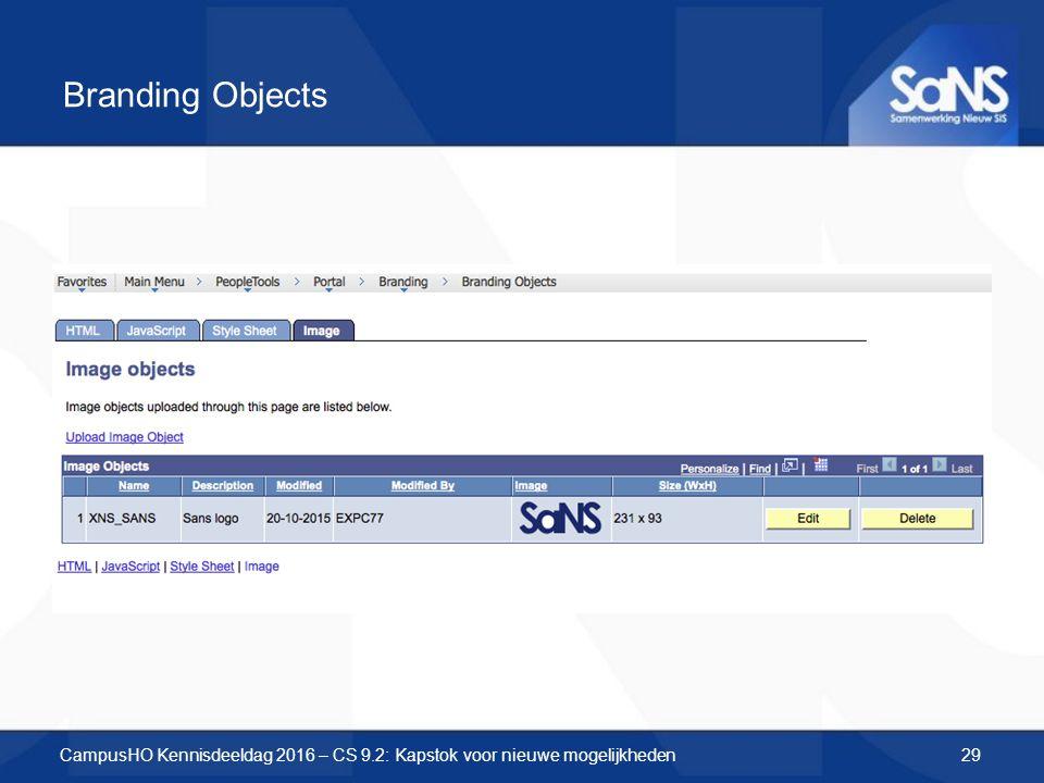 Branding Objects CampusHO Kennisdeeldag 2016 – CS 9.2: Kapstok voor nieuwe mogelijkheden29