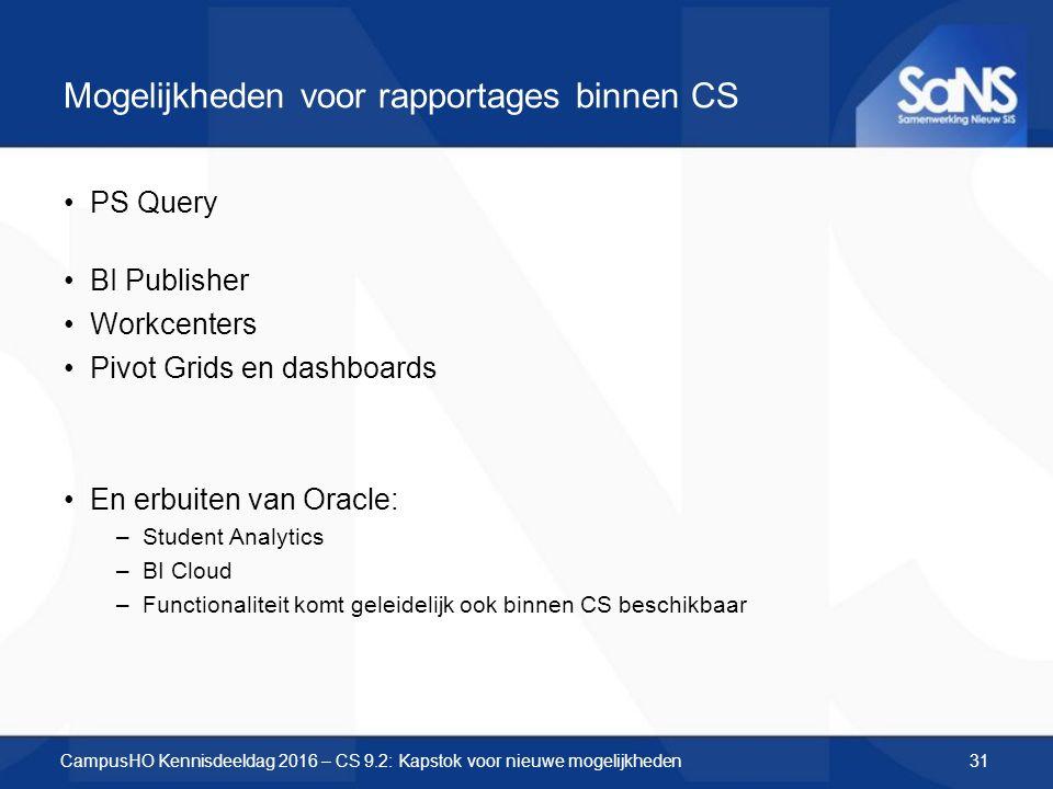 Mogelijkheden voor rapportages binnen CS PS Query BI Publisher Workcenters Pivot Grids en dashboards En erbuiten van Oracle: –Student Analytics –BI Cloud –Functionaliteit komt geleidelijk ook binnen CS beschikbaar CampusHO Kennisdeeldag 2016 – CS 9.2: Kapstok voor nieuwe mogelijkheden31