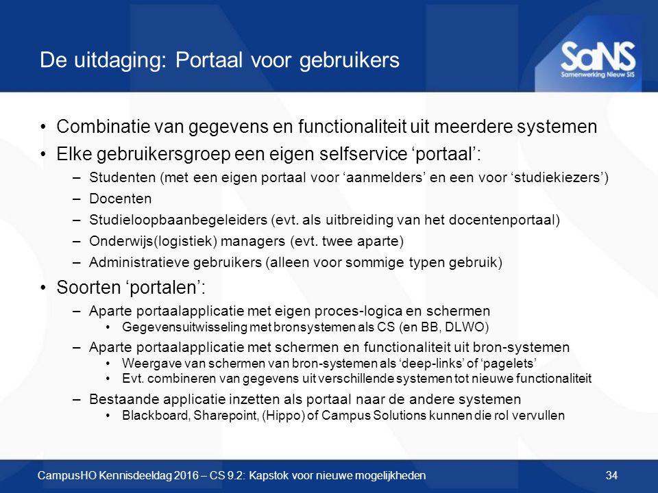 De uitdaging: Portaal voor gebruikers Combinatie van gegevens en functionaliteit uit meerdere systemen Elke gebruikersgroep een eigen selfservice 'por