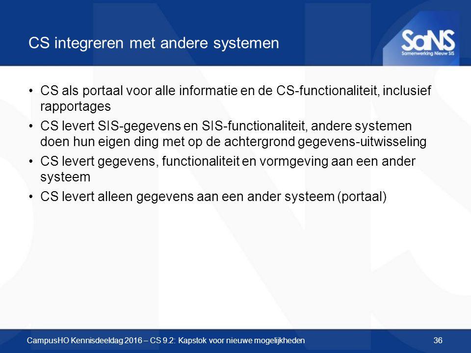 CS integreren met andere systemen CS als portaal voor alle informatie en de CS-functionaliteit, inclusief rapportages CS levert SIS-gegevens en SIS-fu