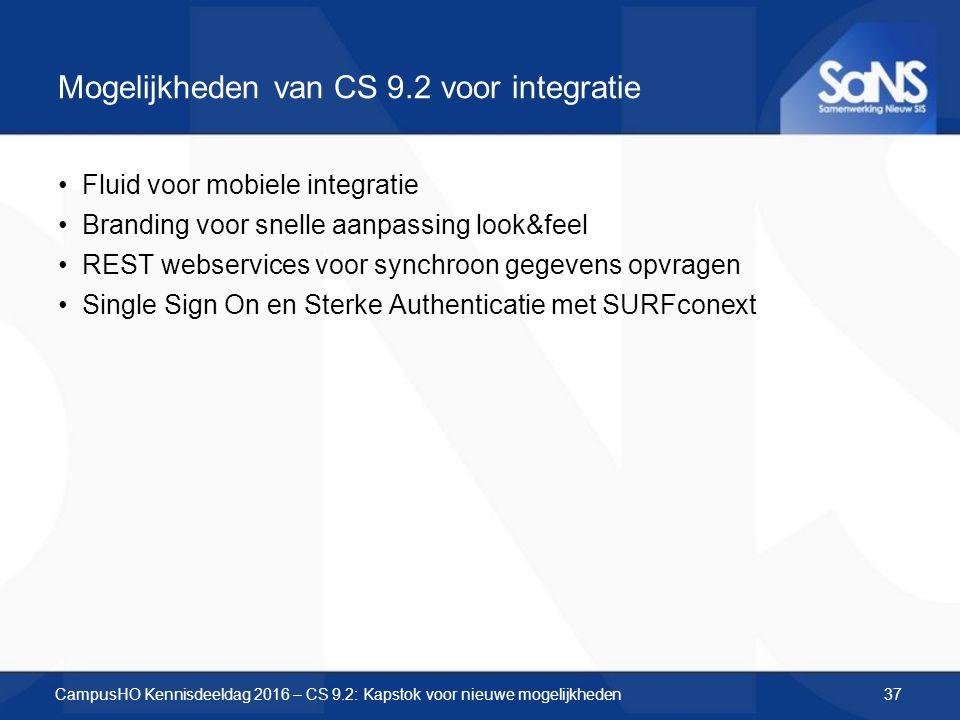 Mogelijkheden van CS 9.2 voor integratie CampusHO Kennisdeeldag 2016 – CS 9.2: Kapstok voor nieuwe mogelijkheden Fluid voor mobiele integratie Branding voor snelle aanpassing look&feel REST webservices voor synchroon gegevens opvragen Single Sign On en Sterke Authenticatie met SURFconext 37