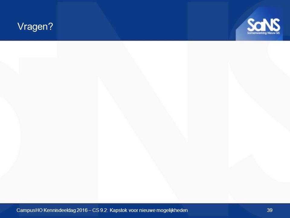 Vragen? CampusHO Kennisdeeldag 2016 – CS 9.2: Kapstok voor nieuwe mogelijkheden39
