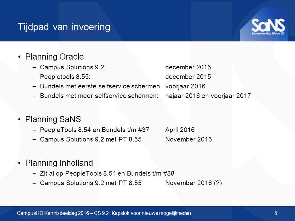 Tijdpad van invoering Planning Oracle –Campus Solutions 9.2: december 2015 –Peopletools 8.55: december 2015 –Bundels met eerste selfservice schermen: