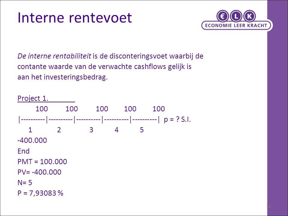 12 Interne rentevoet De interne rentabiliteit is de disconteringsvoet waarbij de contante waarde van de verwachte cashflows gelijk is aan het invester
