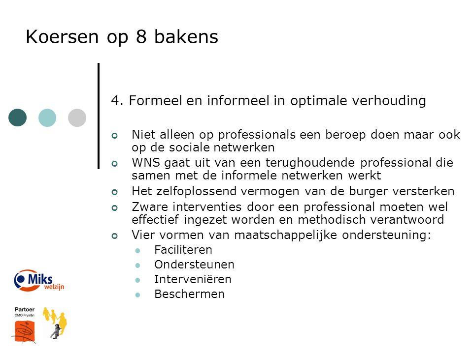 Koersen op 8 bakens 4. Formeel en informeel in optimale verhouding Niet alleen op professionals een beroep doen maar ook op de sociale netwerken WNS g