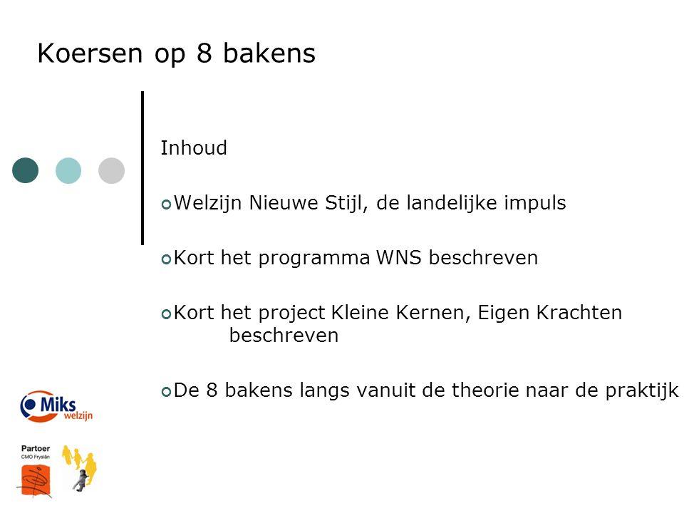 Koersen op 8 bakens Inhoud Welzijn Nieuwe Stijl, de landelijke impuls Kort het programma WNS beschreven Kort het project Kleine Kernen, Eigen Krachten