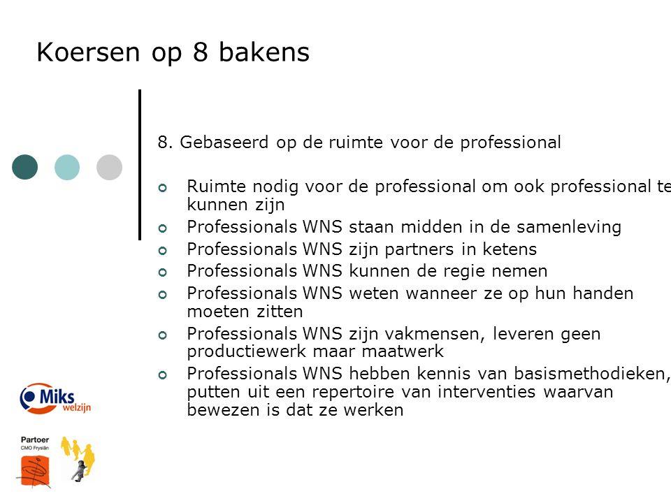 Koersen op 8 bakens 8. Gebaseerd op de ruimte voor de professional Ruimte nodig voor de professional om ook professional te kunnen zijn Professionals