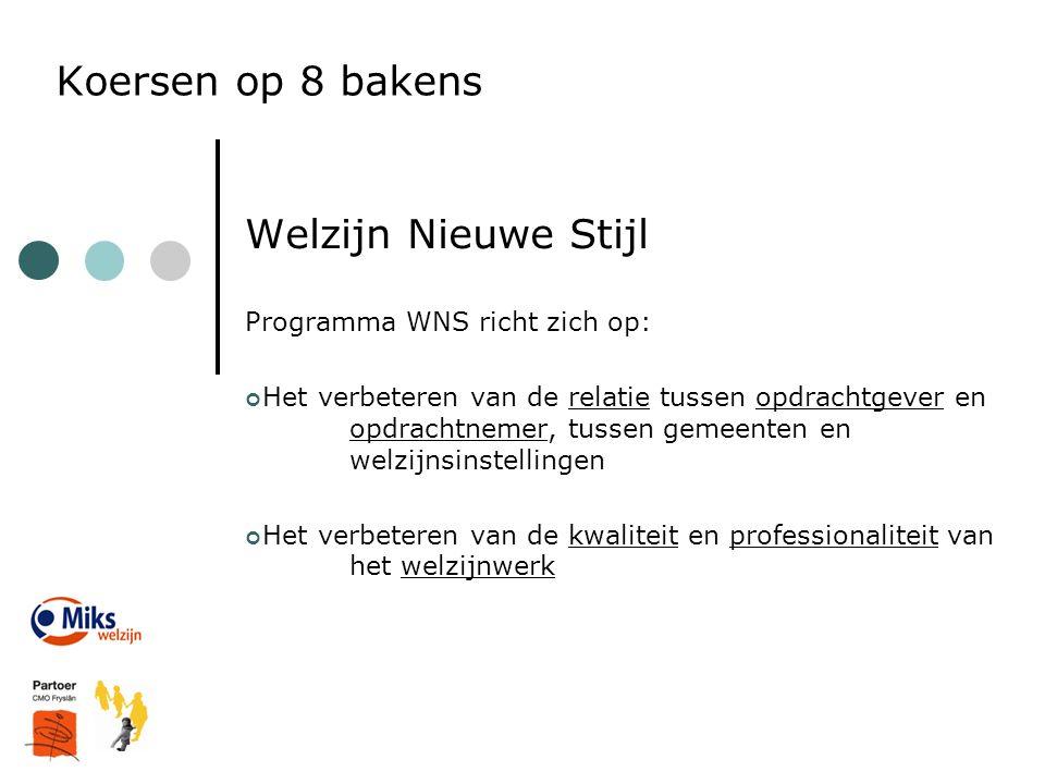 Koersen op 8 bakens Welzijn Nieuwe Stijl Programma WNS richt zich op: Het verbeteren van de relatie tussen opdrachtgever en opdrachtnemer, tussen geme