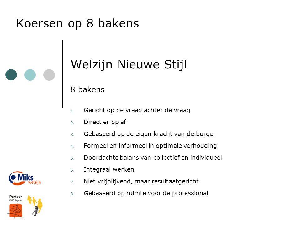 Koersen op 8 bakens Welzijn Nieuwe Stijl 8 bakens 1. Gericht op de vraag achter de vraag 2. Direct er op af 3. Gebaseerd op de eigen kracht van de bur