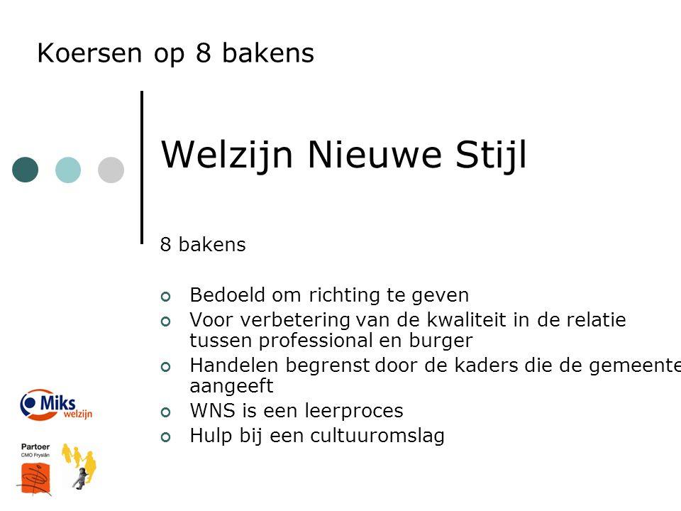 Koersen op 8 bakens Welzijn Nieuwe Stijl 8 bakens Bedoeld om richting te geven Voor verbetering van de kwaliteit in de relatie tussen professional en
