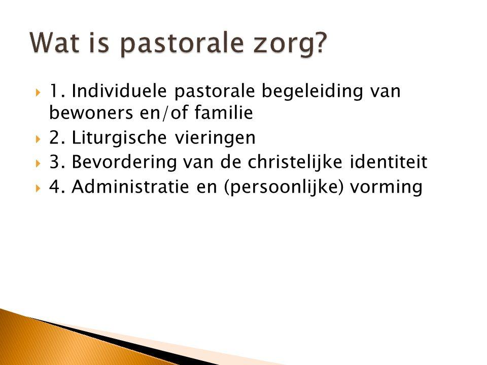  1. Individuele pastorale begeleiding van bewoners en/of familie  2. Liturgische vieringen  3. Bevordering van de christelijke identiteit  4. Admi