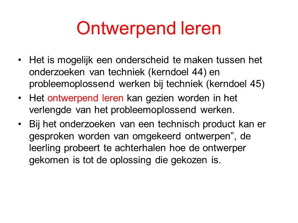 Ontwerpend leren Het is mogelijk een onderscheid te maken tussen het onderzoeken van techniek (kerndoel 44) en probleemoplossend werken bij techniek (kerndoel 45) Het ontwerpend leren kan gezien worden in het verlengde van het probleemoplossend werken.