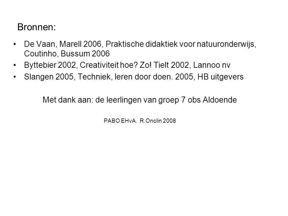 Bronnen: De Vaan, Marell 2006, Praktische didaktiek voor natuuronderwijs, Coutinho, Bussum 2006 Byttebier 2002, Creativiteit hoe.