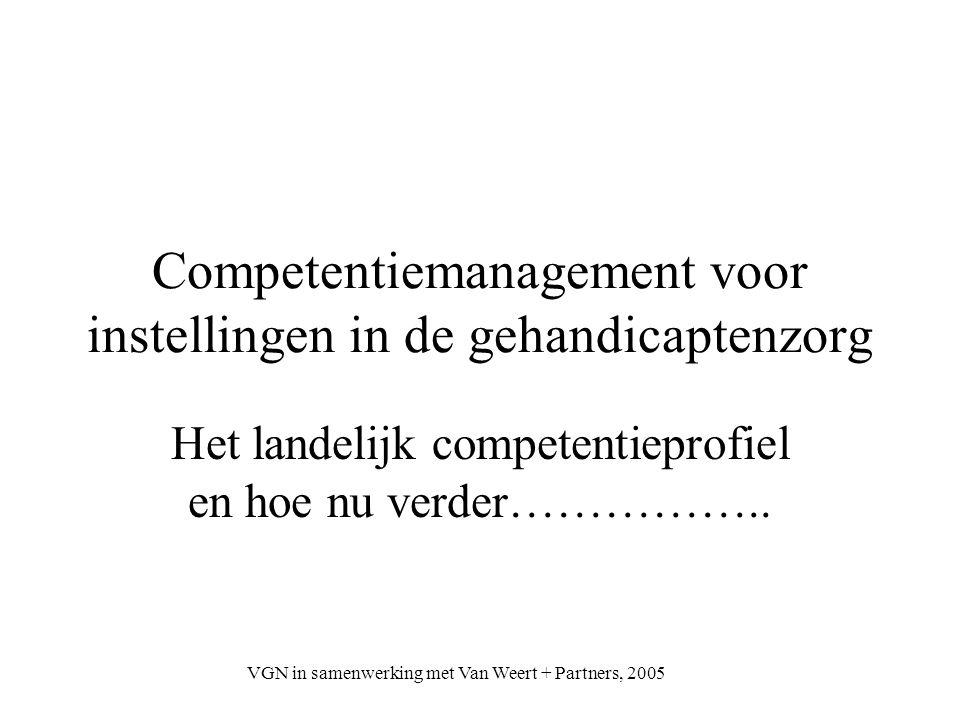 VGN in samenwerking met Van Weert + Partners, 2005 Competentiemanagement voor instellingen in de gehandicaptenzorg Het landelijk competentieprofiel en