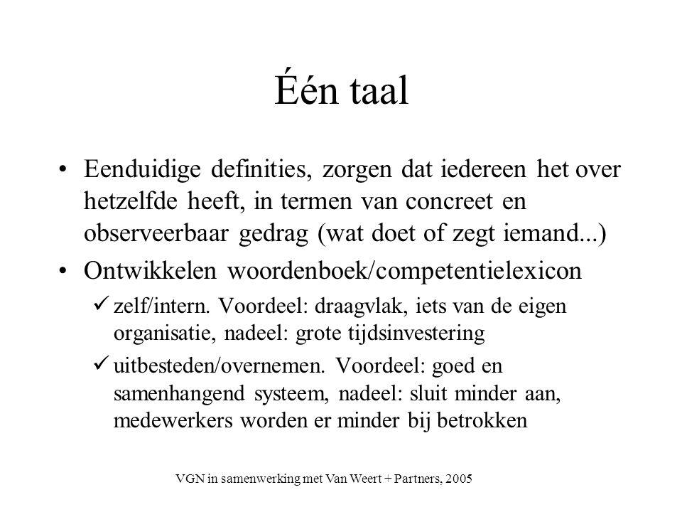 VGN in samenwerking met Van Weert + Partners, 2005 Één taal Eenduidige definities, zorgen dat iedereen het over hetzelfde heeft, in termen van concree
