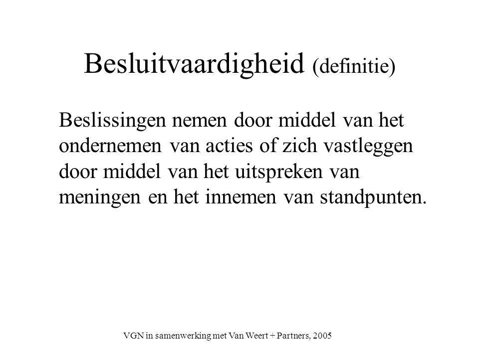 VGN in samenwerking met Van Weert + Partners, 2005 Besluitvaardigheid (definitie) Beslissingen nemen door middel van het ondernemen van acties of zich