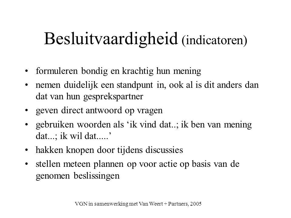 VGN in samenwerking met Van Weert + Partners, 2005 Besluitvaardigheid (indicatoren) formuleren bondig en krachtig hun mening nemen duidelijk een stand
