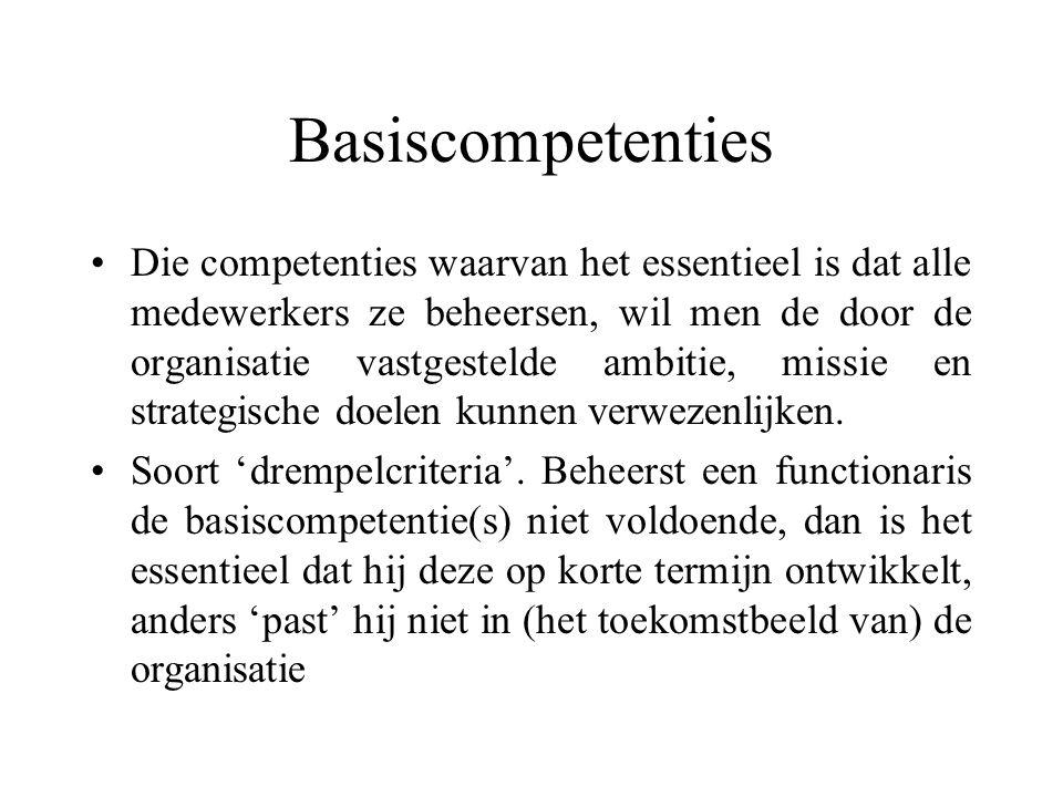 Basiscompetenties Die competenties waarvan het essentieel is dat alle medewerkers ze beheersen, wil men de door de organisatie vastgestelde ambitie, m