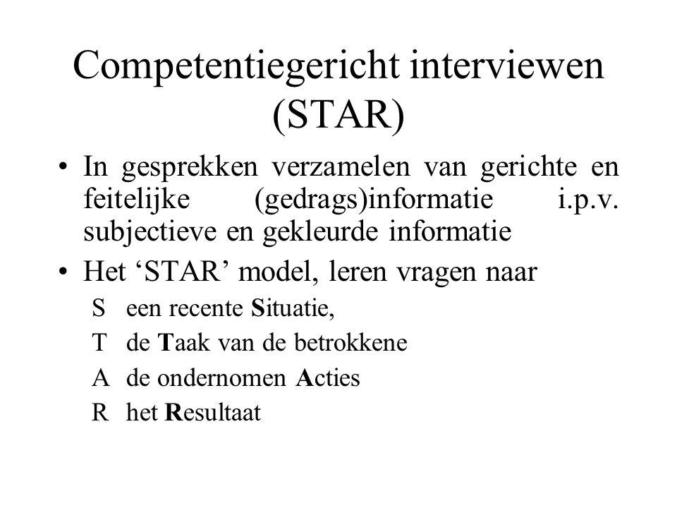 Competentiegericht interviewen (STAR) In gesprekken verzamelen van gerichte en feitelijke (gedrags)informatie i.p.v. subjectieve en gekleurde informat