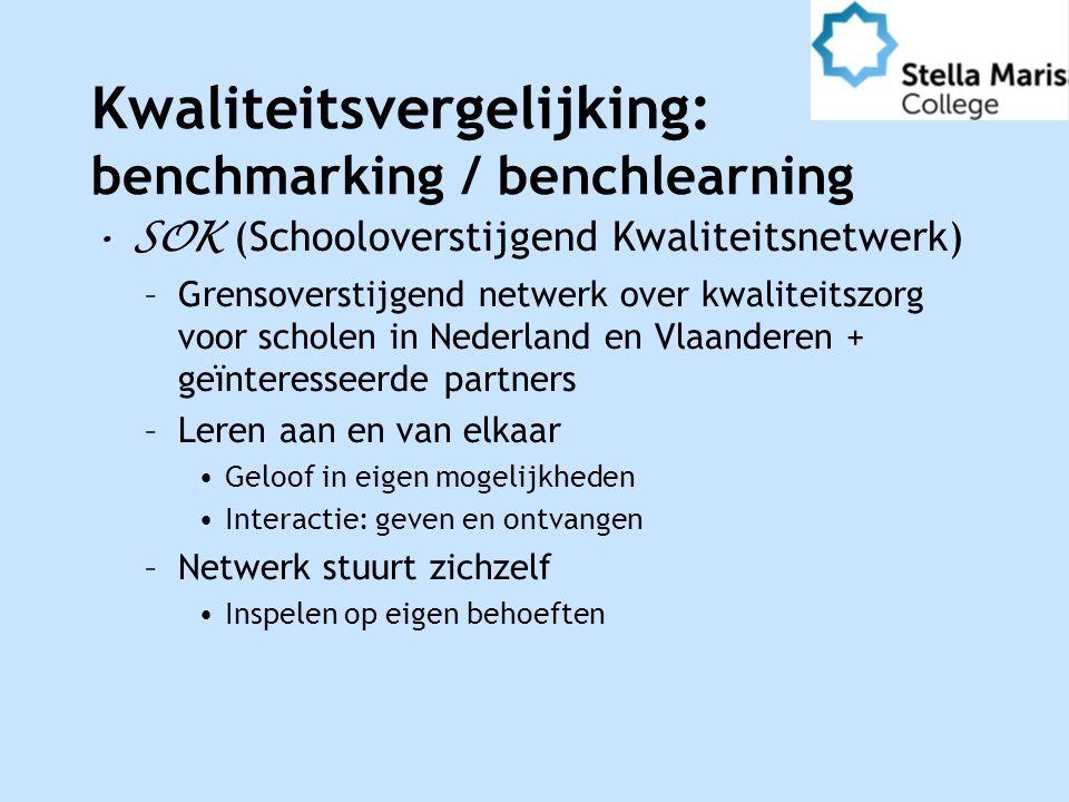 Kwaliteitsvergelijking: benchmarking / benchlearning SOK (Schooloverstijgend Kwaliteitsnetwerk) –Grensoverstijgend netwerk over kwaliteitszorg voor scholen in Nederland en Vlaanderen + geïnteresseerde partners –Leren aan en van elkaar Geloof in eigen mogelijkheden Interactie: geven en ontvangen –Netwerk stuurt zichzelf Inspelen op eigen behoeften