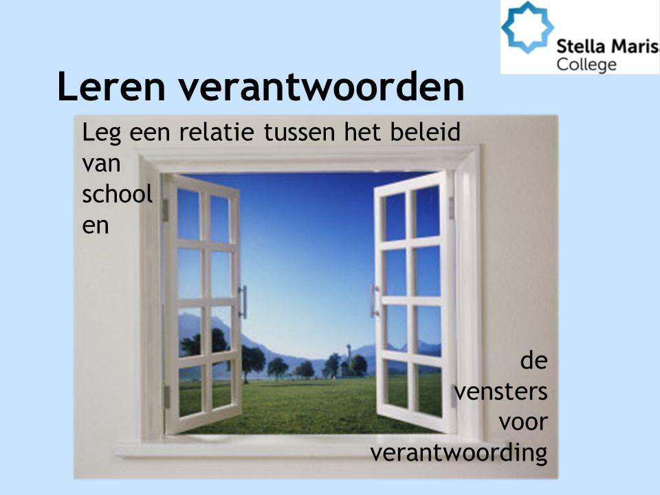 Leren verantwoorden Leg een relatie tussen het beleid van school en de vensters voor verantwoording