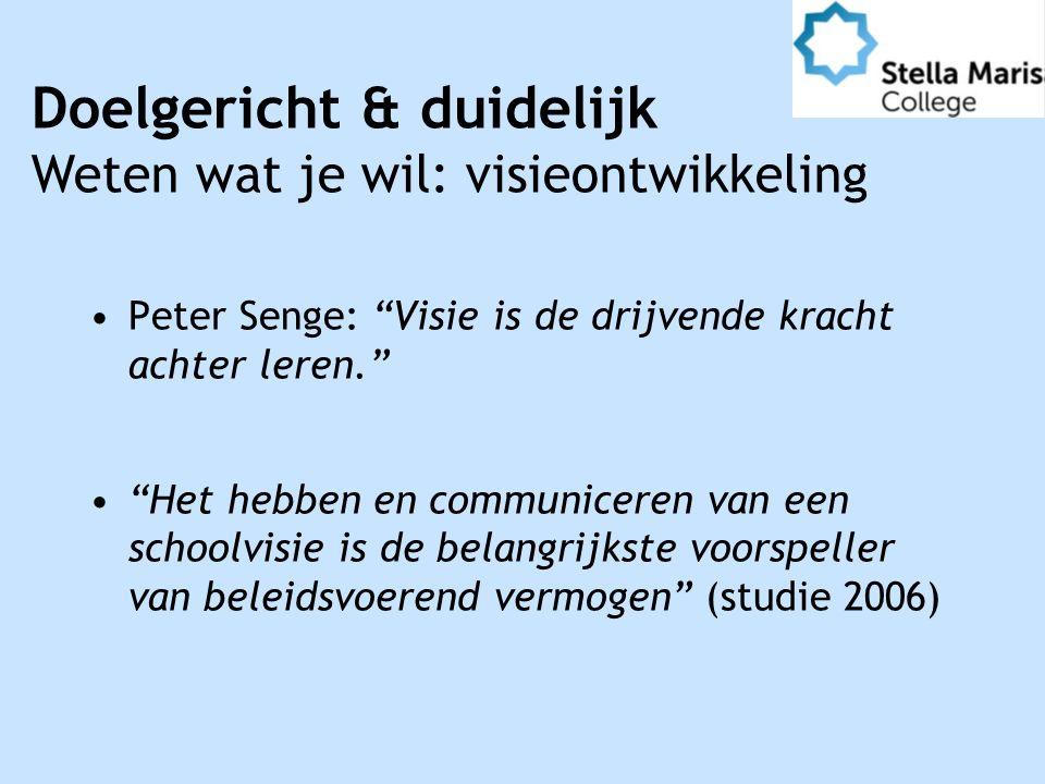 Peter Senge: Visie is de drijvende kracht achter leren. Het hebben en communiceren van een schoolvisie is de belangrijkste voorspeller van beleidsvoerend vermogen (studie 2006) Doelgericht & duidelijk Weten wat je wil: visieontwikkeling