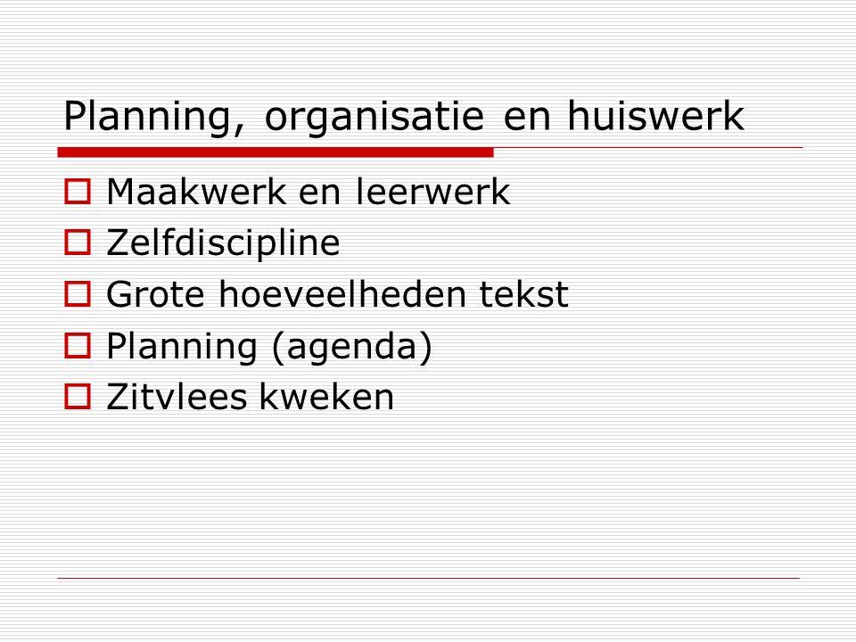 Planning, organisatie en huiswerk  Maakwerk en leerwerk  Zelfdiscipline  Grote hoeveelheden tekst  Planning (agenda)  Zitvlees kweken