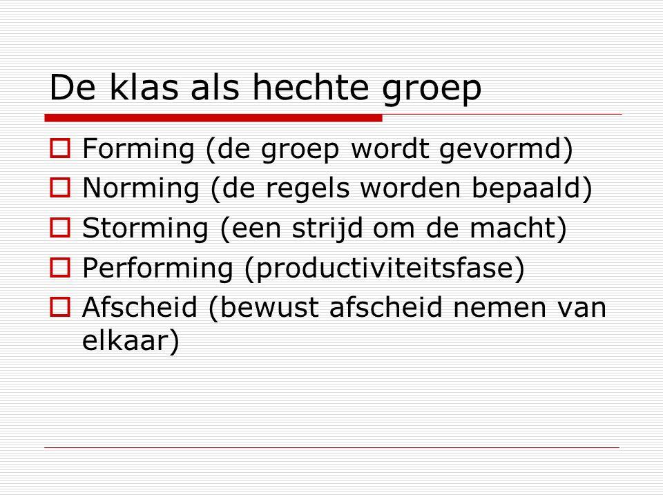 De klas als hechte groep  Forming (de groep wordt gevormd)  Norming (de regels worden bepaald)  Storming (een strijd om de macht)  Performing (productiviteitsfase)  Afscheid (bewust afscheid nemen van elkaar)