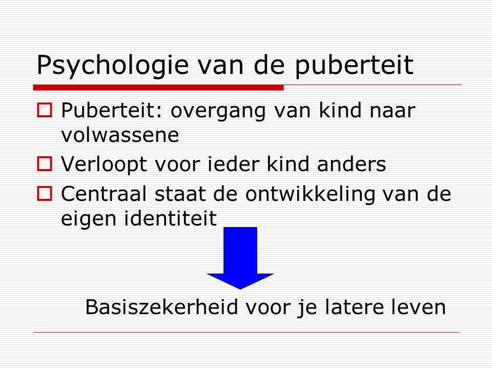 Psychologie van de puberteit  Puberteit: overgang van kind naar volwassene  Verloopt voor ieder kind anders  Centraal staat de ontwikkeling van de eigen identiteit Basiszekerheid voor je latere leven
