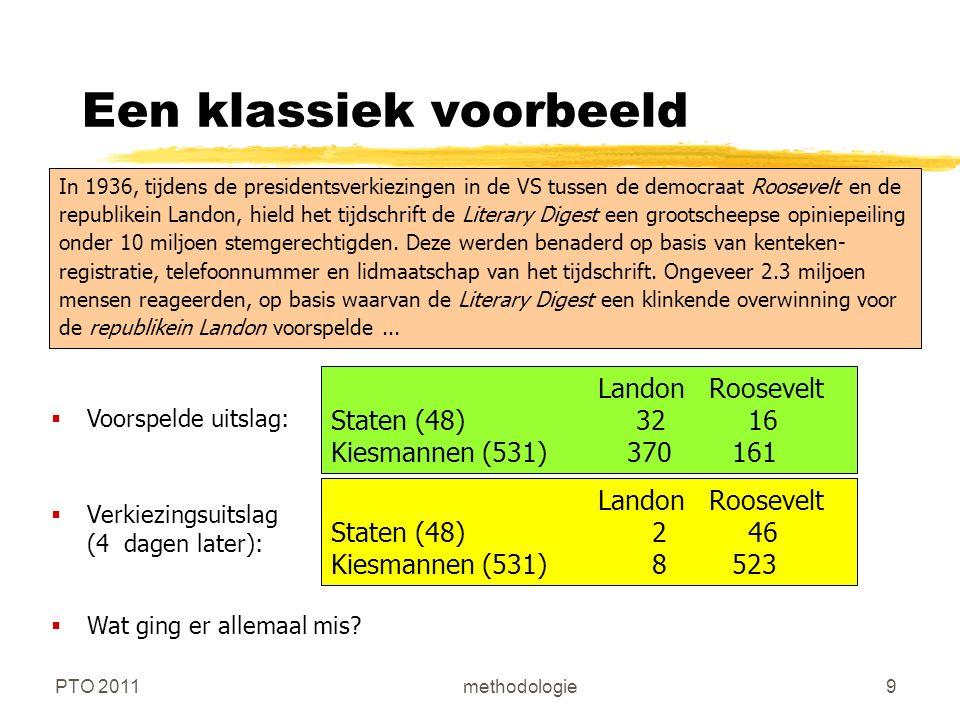 PTO 2011methodologie20 Schaalitems (en schaalmodel)  Het doel van de items is om verschillende aspecten van het te meten verschijnsel weer te geven (validiteit)  Het aantal items van een Likert- of summated rating-schaal varieert tussen 10-20 bij het begin, tot 3-10 items na een item-analyse (interne consistentie, betrouwbaarheid)  Het gebruik van verschillende items (in plaats van slechts 1) heeft te maken met: complexiteit (diffuusheid) van het te meten concept; gewenste precisie van de indicator; gewenste betrouwbaarheid van de schaal; en statistische eigenschappen  De formulering van de items moet begrijpelijk zijn voor de beoogde populatie  De formulering van de items moet een duidelijke richting (positief of negatief) hebben om ambigue antwoorden te voorkomen  Positief en negatief geformuleerde items staan door elkaar om response set te voorkomen.